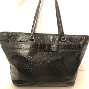 KATE SPADE black leather ostrich embossed bow tote